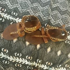 Brown and gold studded sandales
